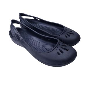 Crocs Black Malindi Slingback Ballet Flat Shoes 8
